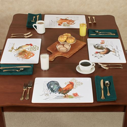 Watercolor Roosters Hardboard Placemats Multi Cool Set of Four