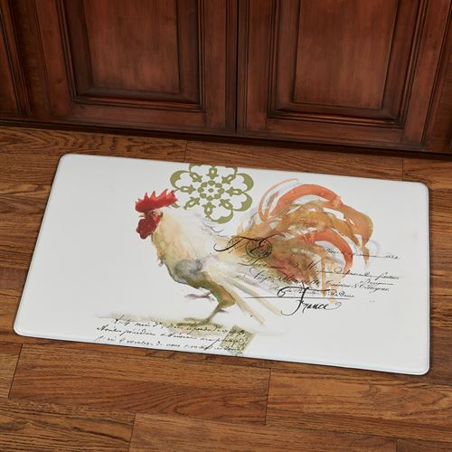 Watercolor Rooster Cushioned Mat Multi Cool 30 x 18