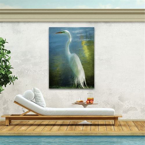 Poised Patience Heron Canvas Wall Art Multi Cool