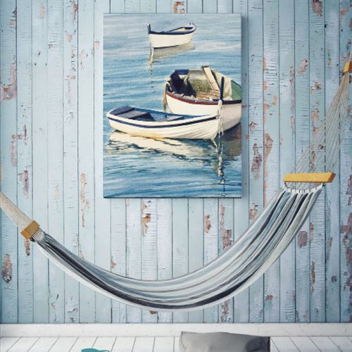 Tranquil Trio Rowboat Canvas Wall Art Blue