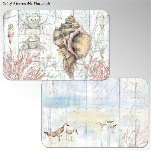 Shoreline Shells Coastal Placemats Multi Cool Set of Four