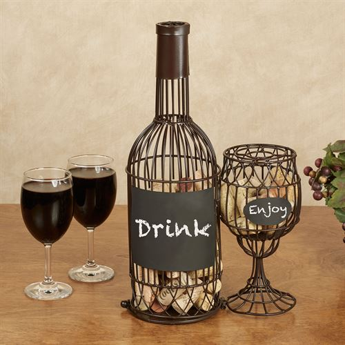 Bottle and Wine Glass Cork Caddy Brown