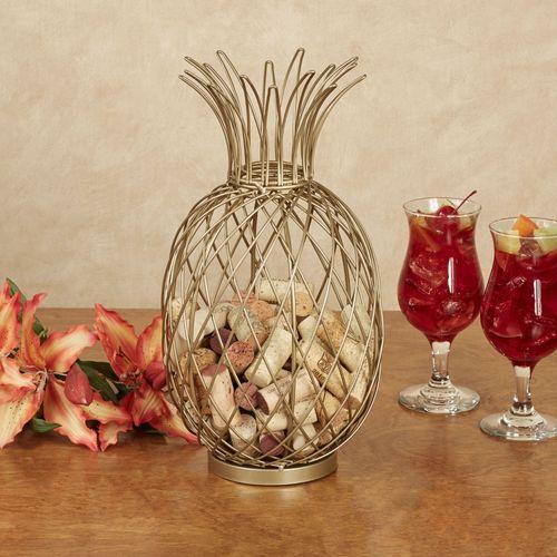 Pineapple Wine Cork Caddy Gold