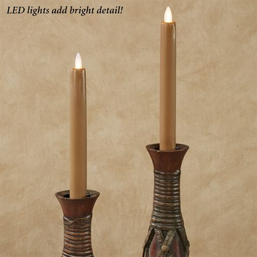 Alexa Flameless Taper Candles Taupe Set of Two