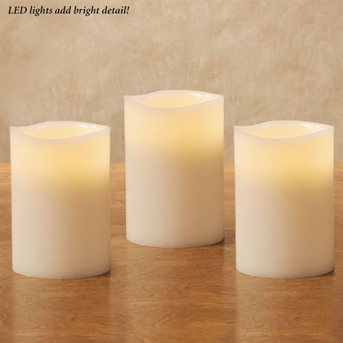 Nessa Scented LED Flameless Candles Ivory Set of Three