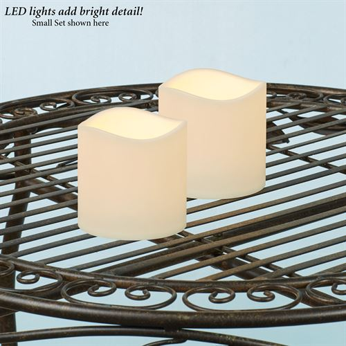 Ellie Small Indoor Outdoor LED Candles Ivory Set of Two