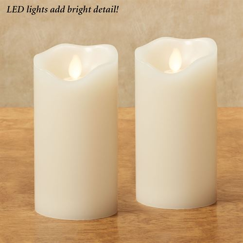 Adessa Medium LED Flameless Candles Ivory Set of Two