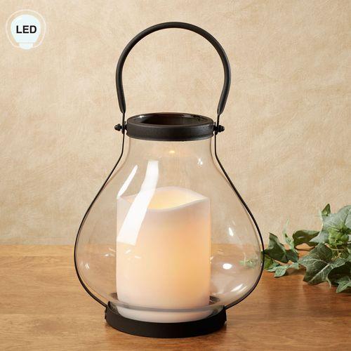 School House LED Candle Lantern Black