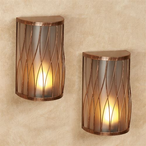 Cora LED Wall Sconces Copper Set of Two