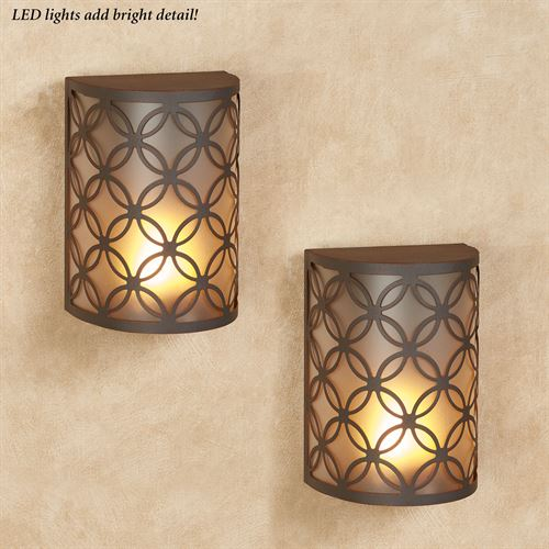 Tinley LED Wall Sconces Brown Set of Two