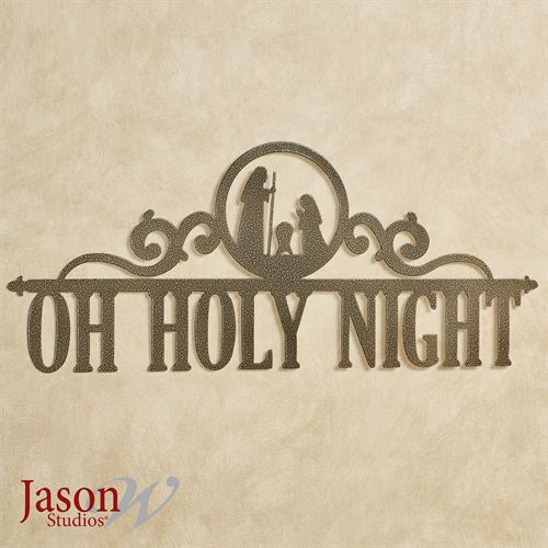 Oh Holy Night Wall Art Sign Antique Gold Nativity
