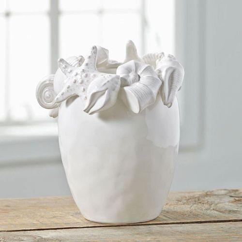 Shell Encrusted Decorative Vase White