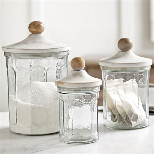 Fluted Glass Kitchen Canisters Clear Set of Three