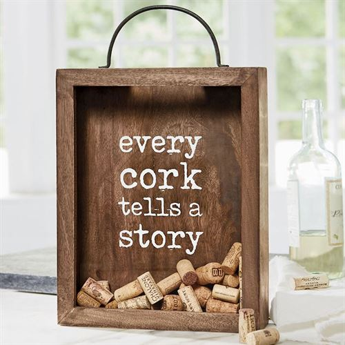 Every Cork Tells a Story Cork Holder Box Brown