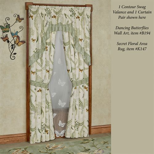 Butterfly Eden Contour Swag Valance Eggshell 72 x 36