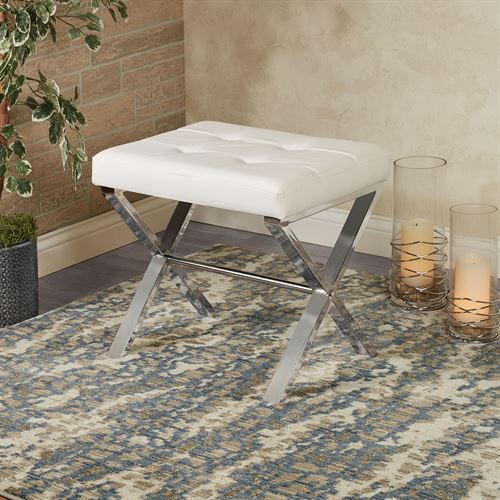 Penley Upholstered Vanity Bench White and Silver