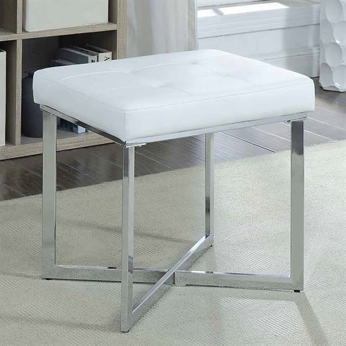 Shaw Upholstered Vanity Bench White and Silver