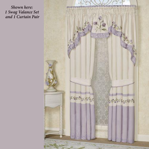 Lavender Rose 3 Piece Swag Valance Set 116 x 36
