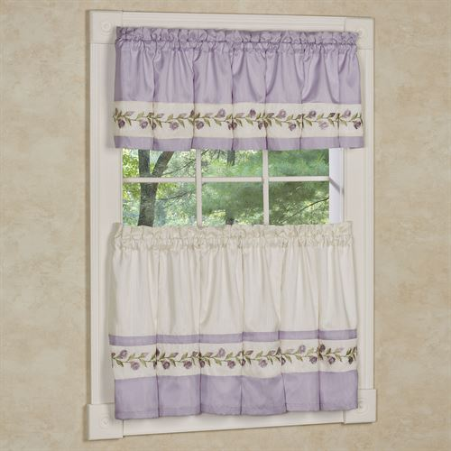 Lavender Rose Tier and Valance Set