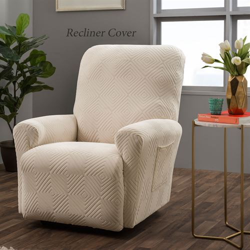 Lapeer Stretch Slipcover Cream Wing Chair