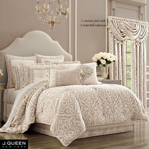 Milano Damask Comforter Set Almond