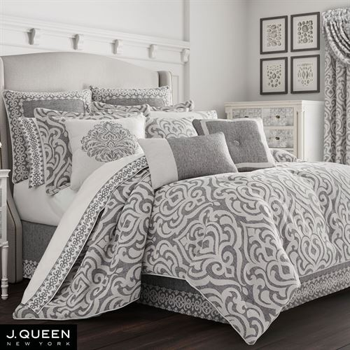 Pierce Light Silver Gray And Dark Damask Comforter Bedding By J Queen New York
