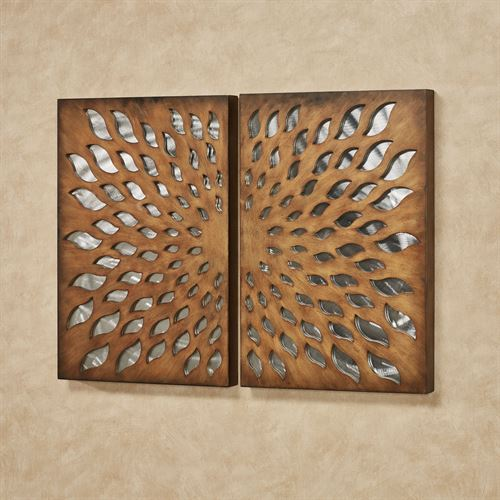 Sun Blossom Wall Art Brown Set of Two