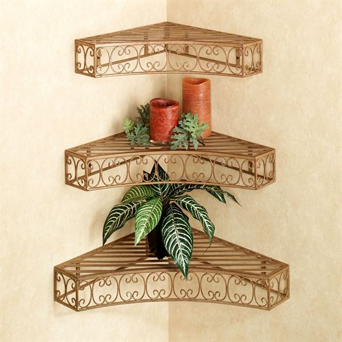 Bellamy Scroll Corner Wall Shelves Antique Rust Set of Three
