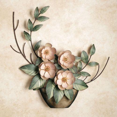 Serene Magnolias in Vase Wall Sculpture Blush