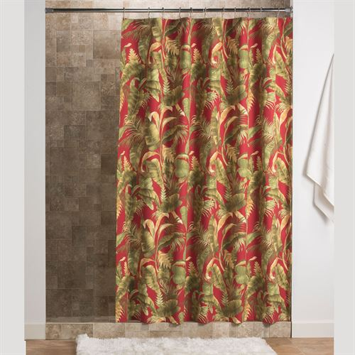 Captiva Tropical Shower Curtain Dark Red 72 X 75