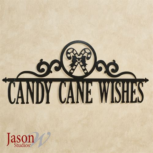 Candy Cane Wishes Wall Art Black