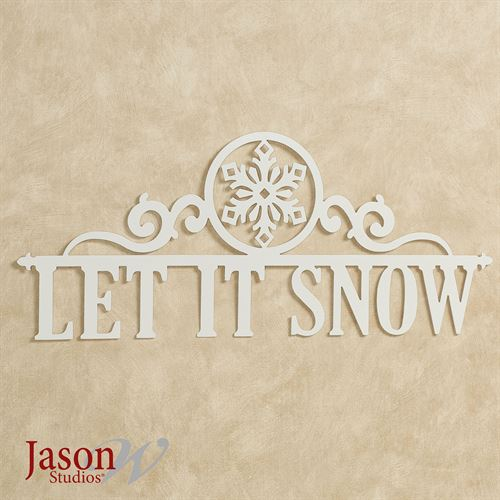 Let It Snow Wall Art Sign Ivory Snowflake