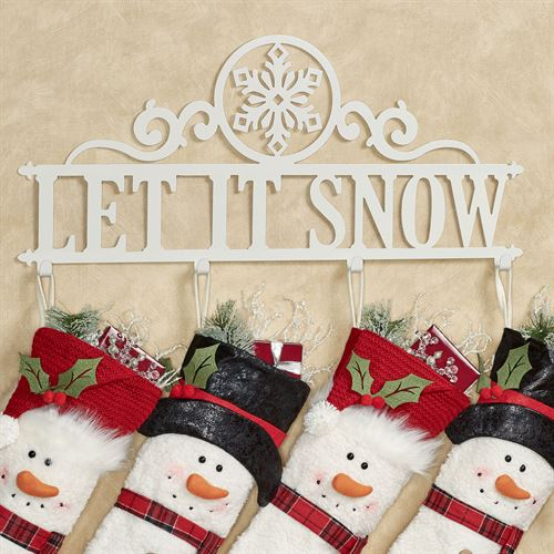 Let It Snow Wall Hook Rack Ivory Snowflake