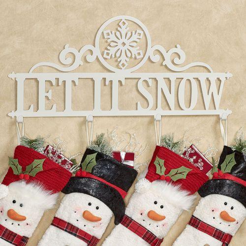 Let It Snow Wall Hook Rack Ivory Snowflake