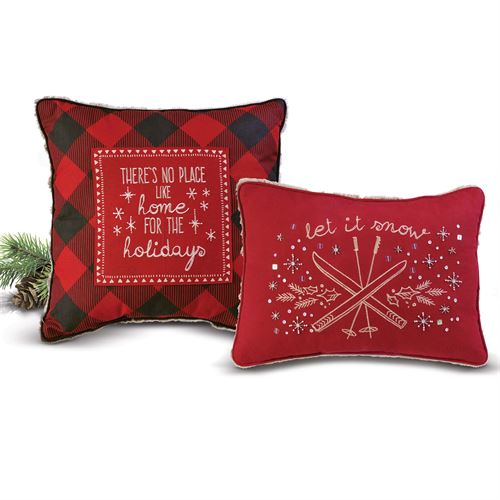Winter Lodge Decorative Pillows Red Set of Two