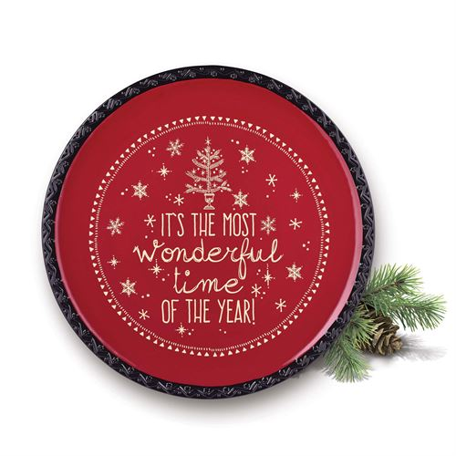 The Most Wonderful Time Holiday Serving Platter Red Round