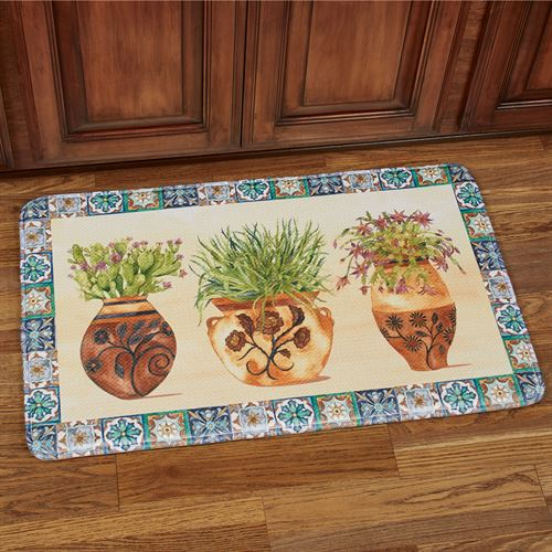 Mexican Pots Cushioned Rectangle Mat Multi Bright 35 x 22