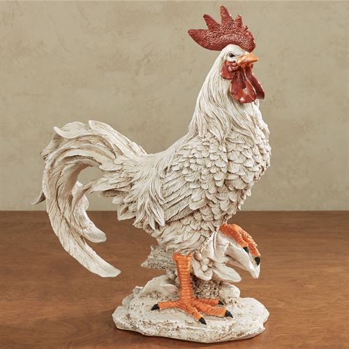 Esme the Rooster Sculpture Antique White Large
