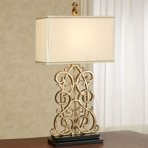 Delyth Scroll Antique Gold Table Lamp