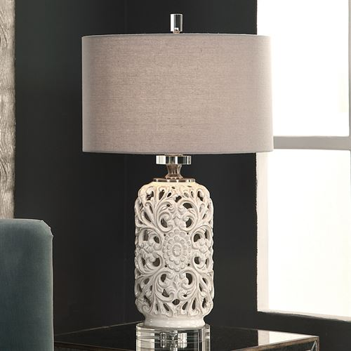 Amulius Ivory Openwork Ceramic Table Lamp