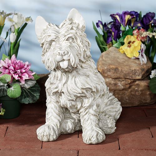 Oliver Cairn Terrier Dog Sculpture Antique White