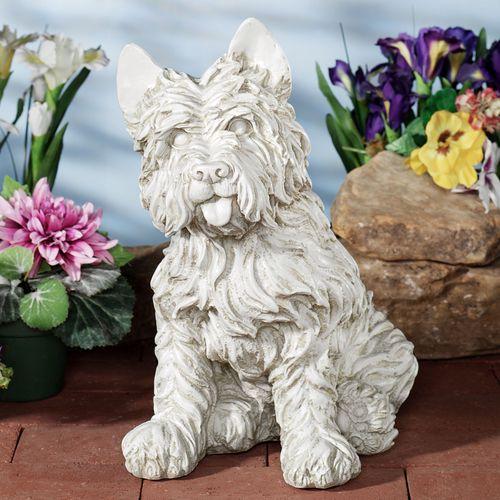 Oliver Cairn Terrier Dog Sculpture Antique White