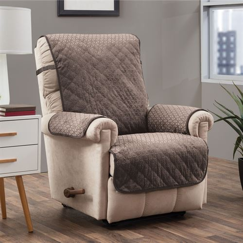 Angier Secure Fit Furniture Protector Taupe Recliner/Wing Chair