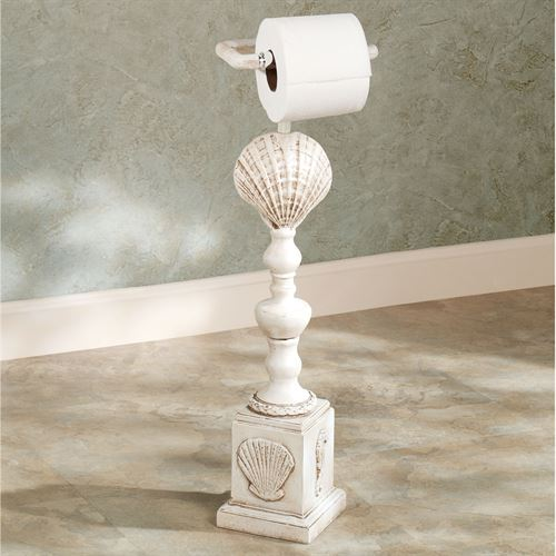 Clamshell Toilet Paper Stand Old World White