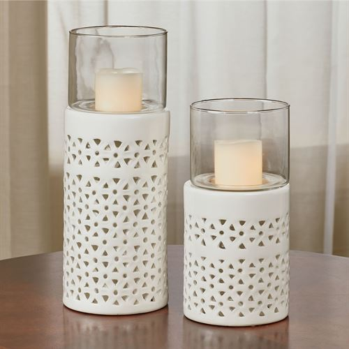 Pierced White Hurricane Candleholders Set of Two