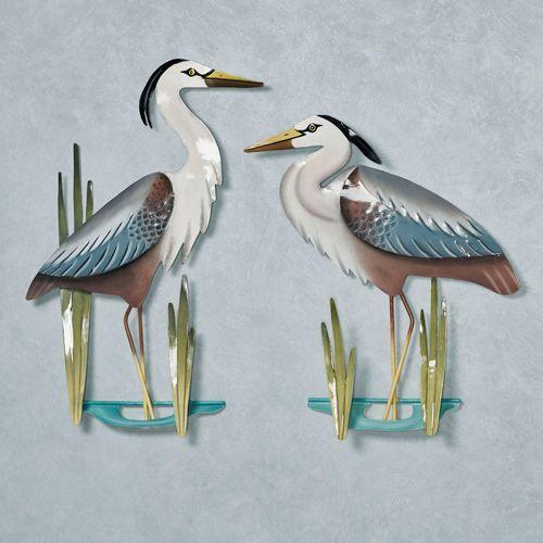 Herons at Bay Wall Art Multi Earth Set of Two