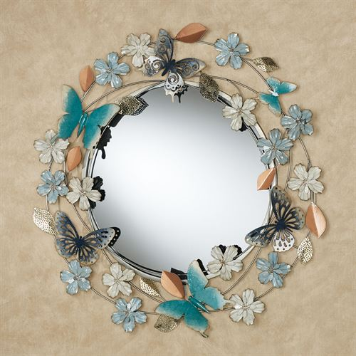 Butterflies and Florals Wall Mirror Blue