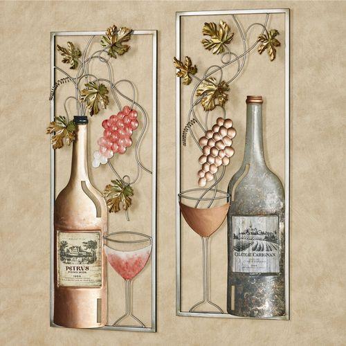 Wine Pairings Wall Art Multi Metallic Set of Two