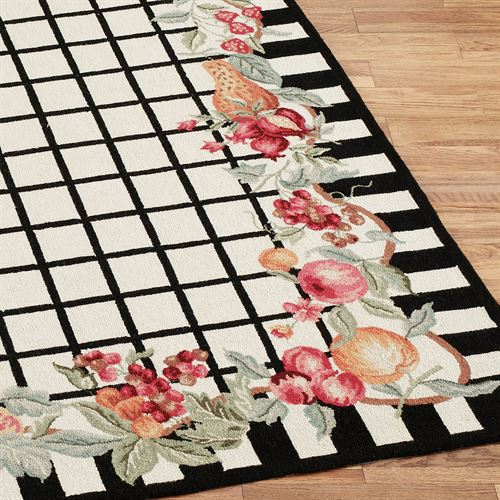 Fruit Garland Rug Runner Black