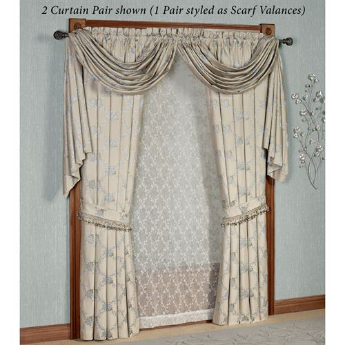 Blooming Treillage Curtain Pair Periwinkle 84 x 84